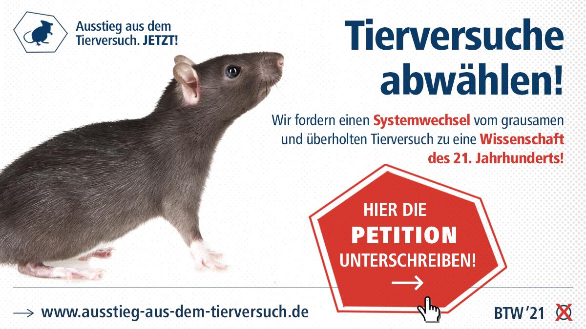 Tierversuche abwählen! Wir fordern einen Systemwechsel...